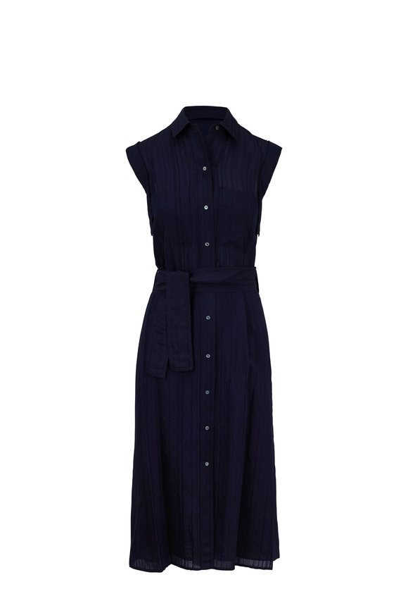 Vince Marine Blue Tonal Striped Belted Shirtdress