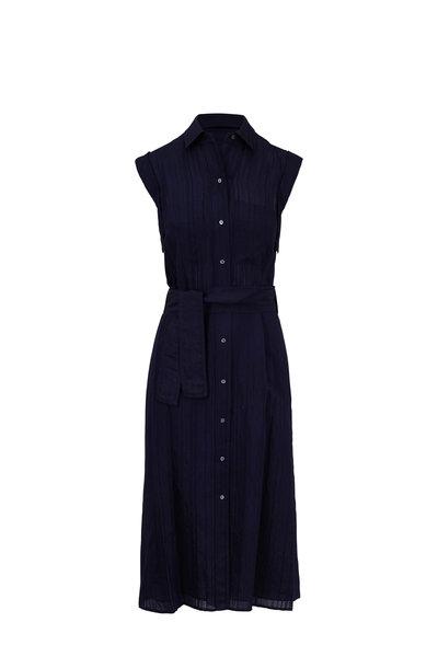 Vince - Marine Blue Tonal Striped Belted Shirtdress