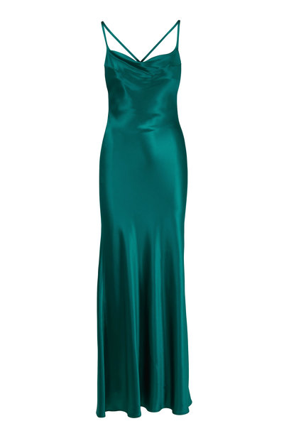 Galvan - Whiteley Hunter Green Heavy Silk Cowlneck Gown