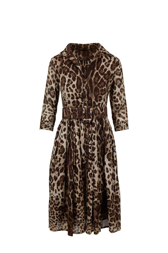 Samantha Sung Audrey 1 Beige Safari Leopard Belted Dress