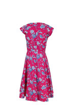 Carolina Herrera - Pink Multi Print Stretch Poplin Cap Sleeve Dress