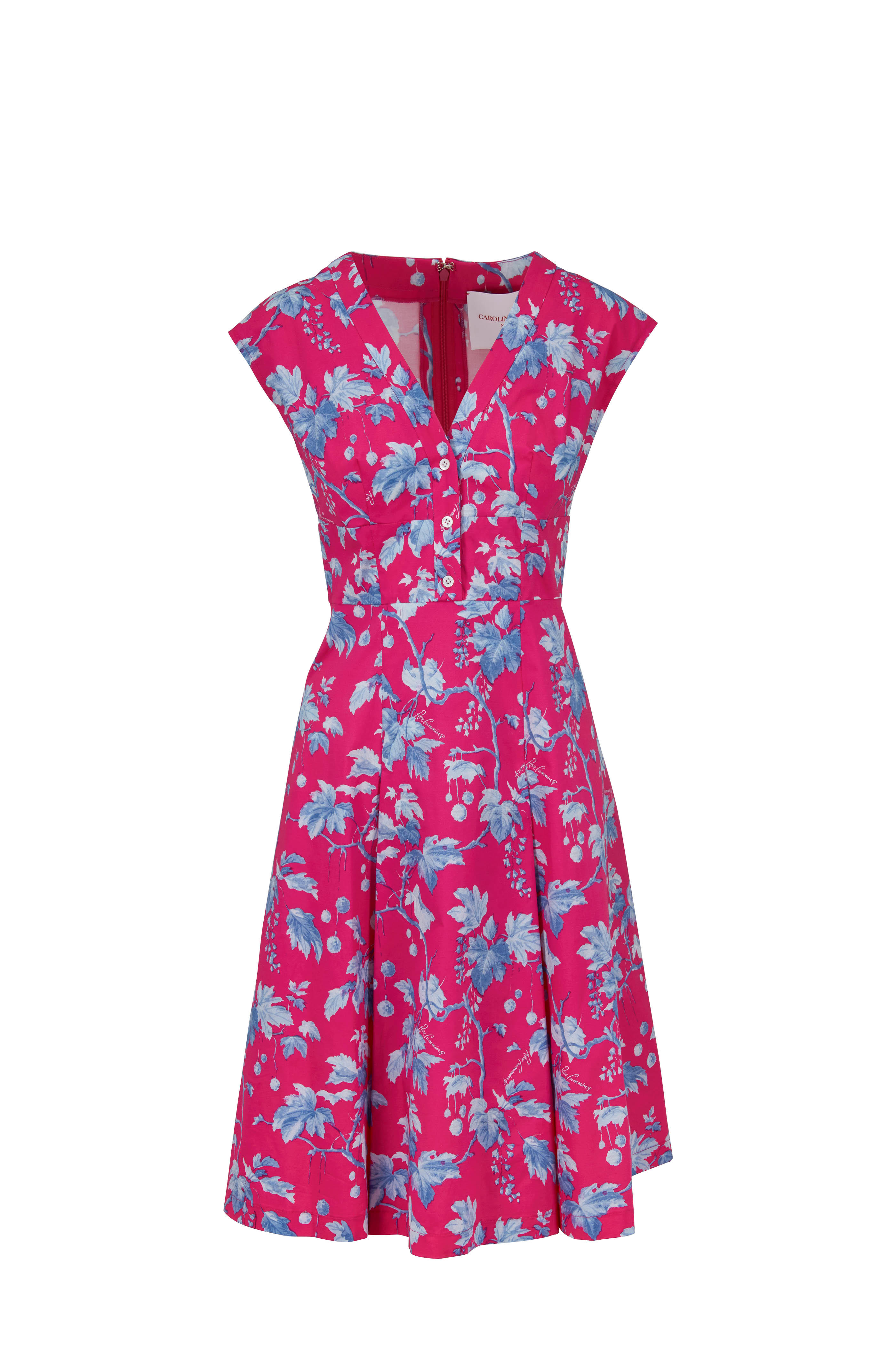 891f3cd499a0a Carolina Herrera - Pink Multi Print Stretch Poplin Cap Sleeve Dress ...