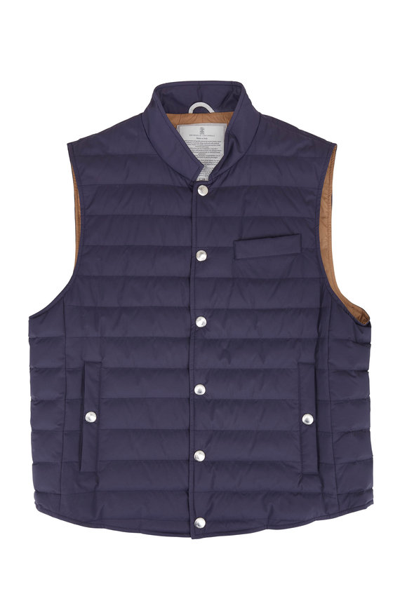 Brunello Cucinelli Navy Blue Quilted Down Vest