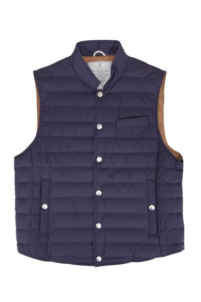 Brunello Cucinelli - Navy Blue Quilted Down Vest