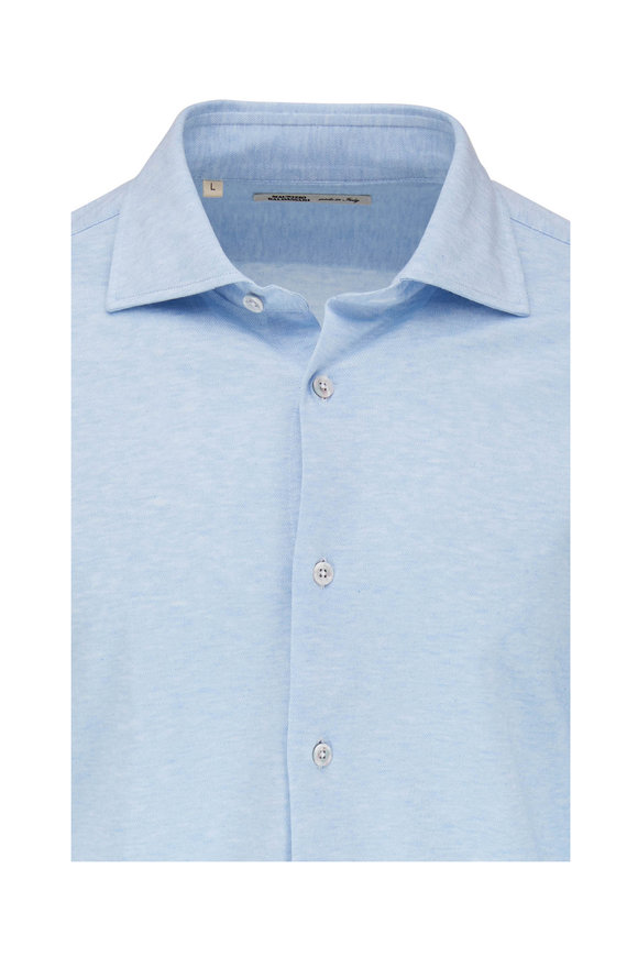 Maurizio Baldassari Light Blue Heather Knit Sport Shirt