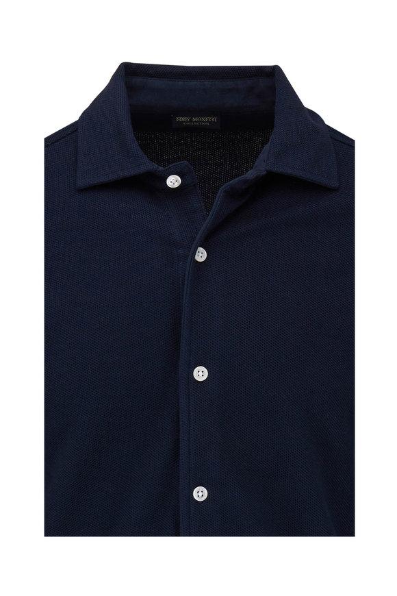 Eddy Monetti Navy Blue Pique Knit Shirt