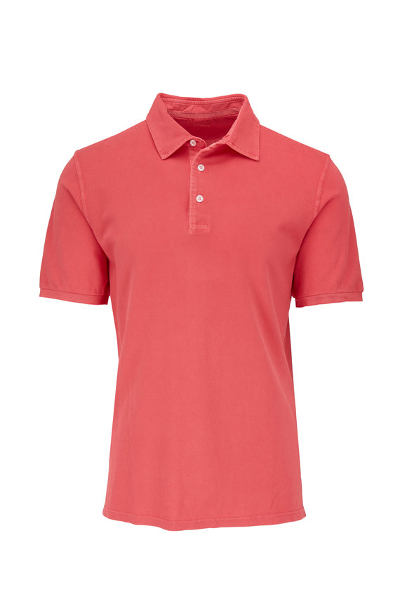 Fedeli Coral Frosted Piqué Polo