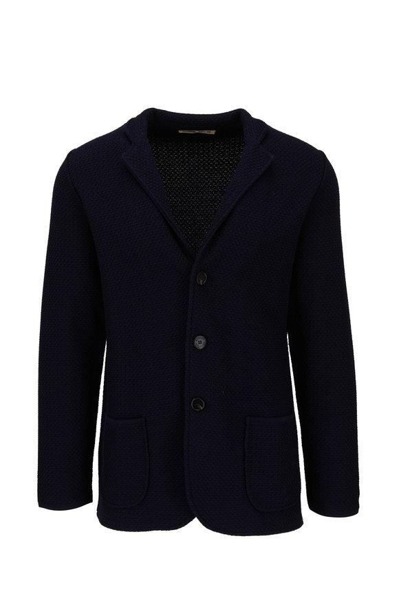 Maurizio Baldassari Navy Blue Wool & Silk Knit Sweater Jacket