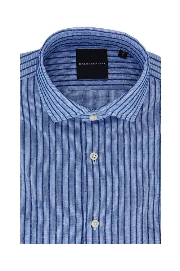 Baldessarini Keith Blue Textured Stripe Cotton Blend Sportshirt