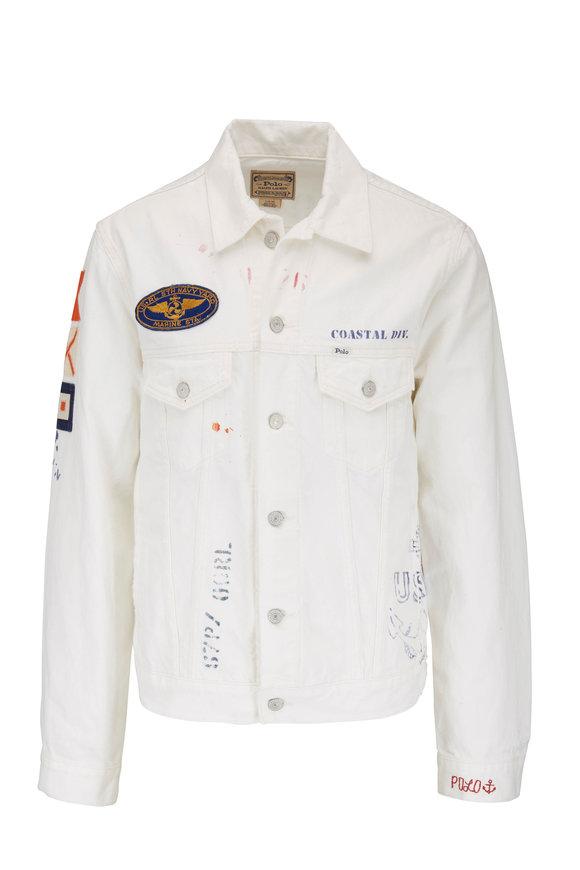 Polo Ralph Lauren White Embellish Denim Trucker Jacket
