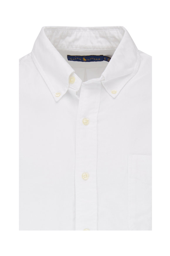 Polo Ralph Lauren White Cotton Embroidered Pocket Long Sleeve Polo