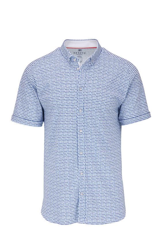 Desoto Navy Blue Geometric Pattern Short Sleeve Knit