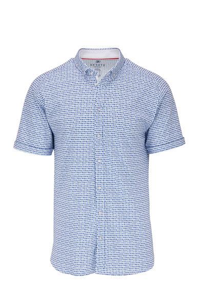 Desoto - Navy Blue Geometric Pattern Short Sleeve Knit