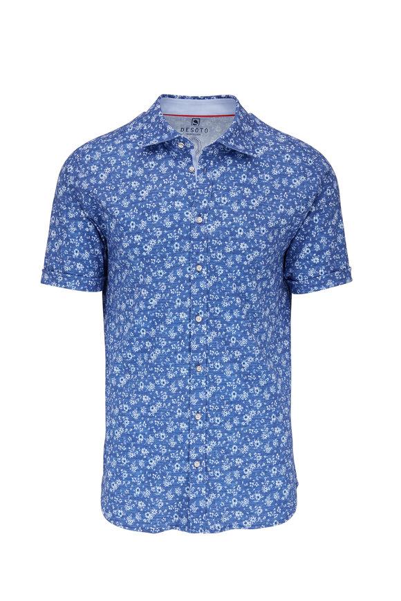 Desoto Medium Blue Floral Pattern Short Sleeve Knit