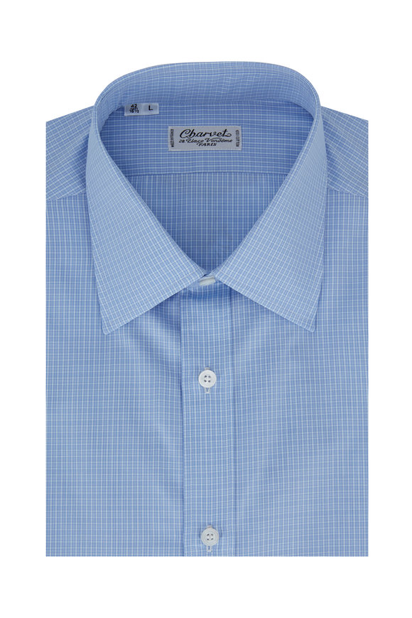 Charvet Blue Tonal Check Dress Shirt