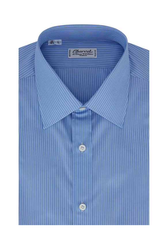 Charvet Medium Blue Tonal Striped Dress Shirt
