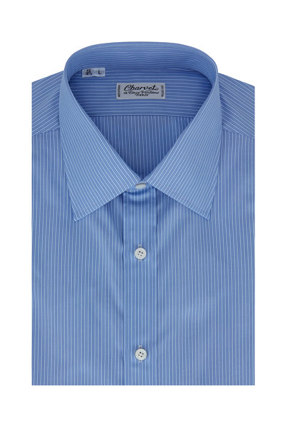 Charvet - Medium Blue Tonal Striped Dress Shirt