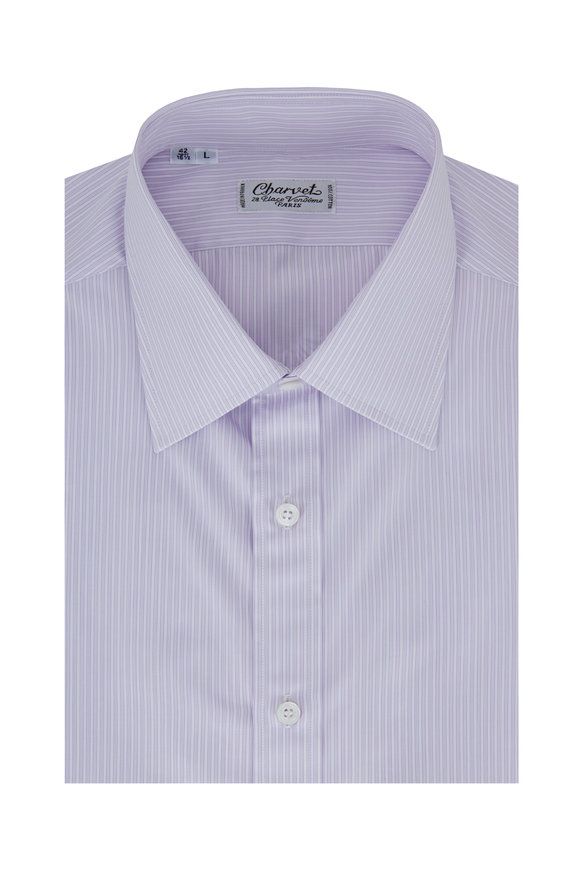 Charvet Lavender Striped Dress Shirt