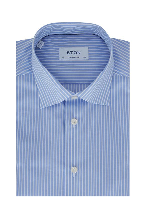 Eton Light Blue Striped Contemporary Fit Sport Shirt