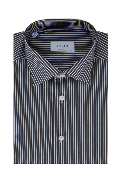 Eton - Black Striped Contemporary Fit Sport Shirt