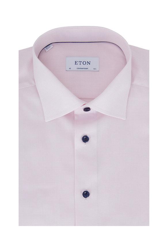 Eton Light Pink Textured Contemporary Fit Dress Shirt