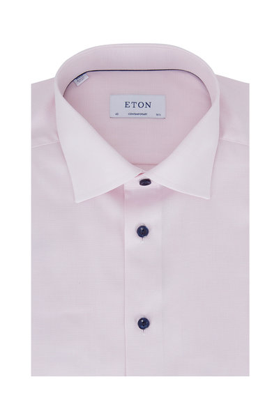 Eton - Light Pink Textured Contemporary Fit Dress Shirt