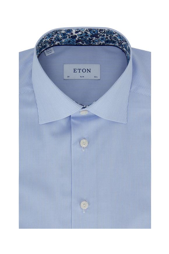 Eton Light Blue Striped Slim Fit Dress Shirt