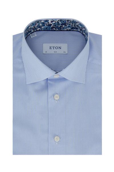 Eton - Light Blue Striped Slim Fit Dress Shirt