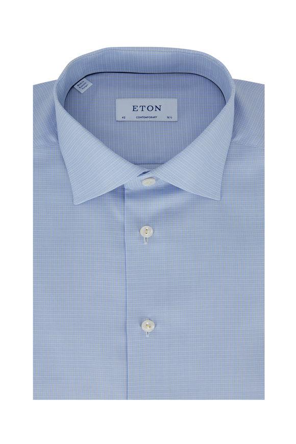 Eton Light Blue & Yellow Plaid Contemporary Dress Shirt