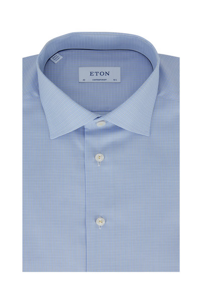 Eton - Light Blue & Yellow Plaid Contemporary Dress Shirt