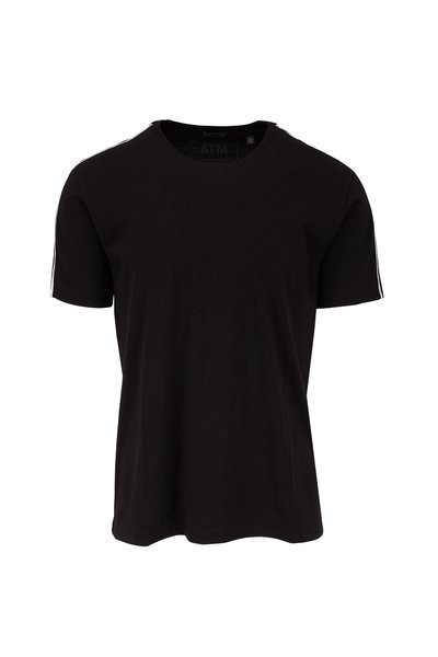 A T M - Black With White Piping T-Shirt