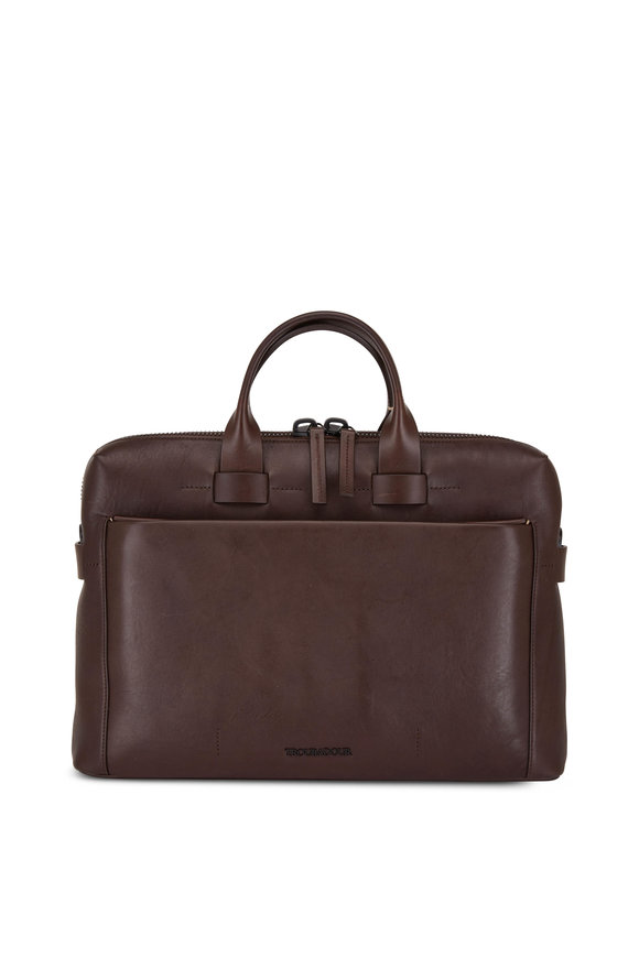 Troubadour Generation Dark Brown Leather Slim Briefcase