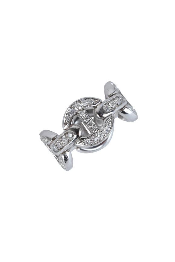 Hoorsenbuhs White Gold Quad Link Diamond Antiquated Ring