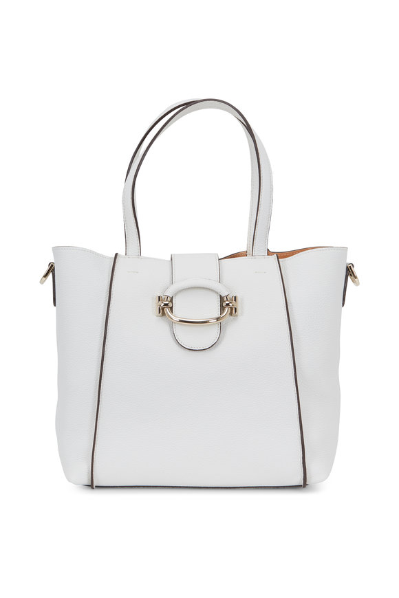Tod's White Grained Leather Small Bucket Bag