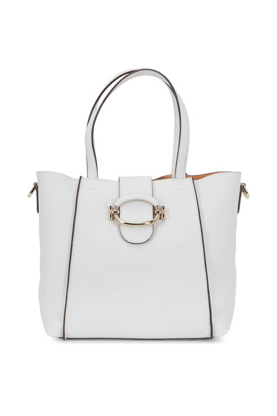 Tod's - White Grained Leather Small Bucket Bag