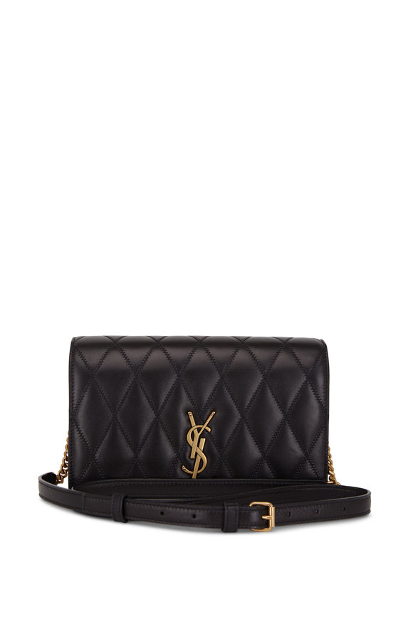 Saint Laurent Angie Black Diamond Quilted Leather Shoulder Bag