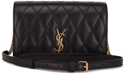 Saint Laurent Angie Black Diamond Quilted Leather Shoulder Bag