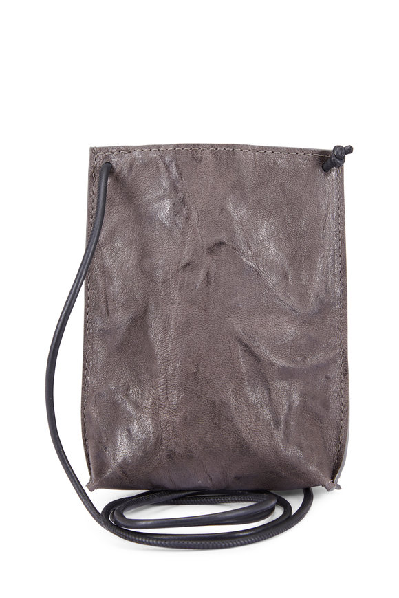 B May Bags Charcoal Rumpled Sheepskin Cell Pouch