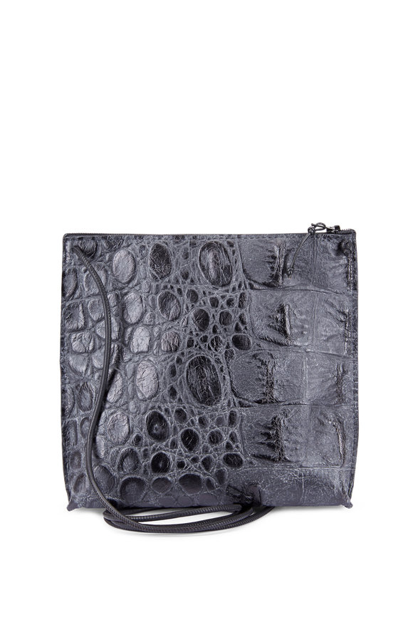 B May Bags Black Croc Embossed Leather Small Crossbody