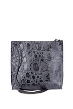 B May Bags - Black Croc Embossed Leather Small Crossbody
