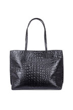 B May Bags - Black Croc Embossed Leather Classic Shopper