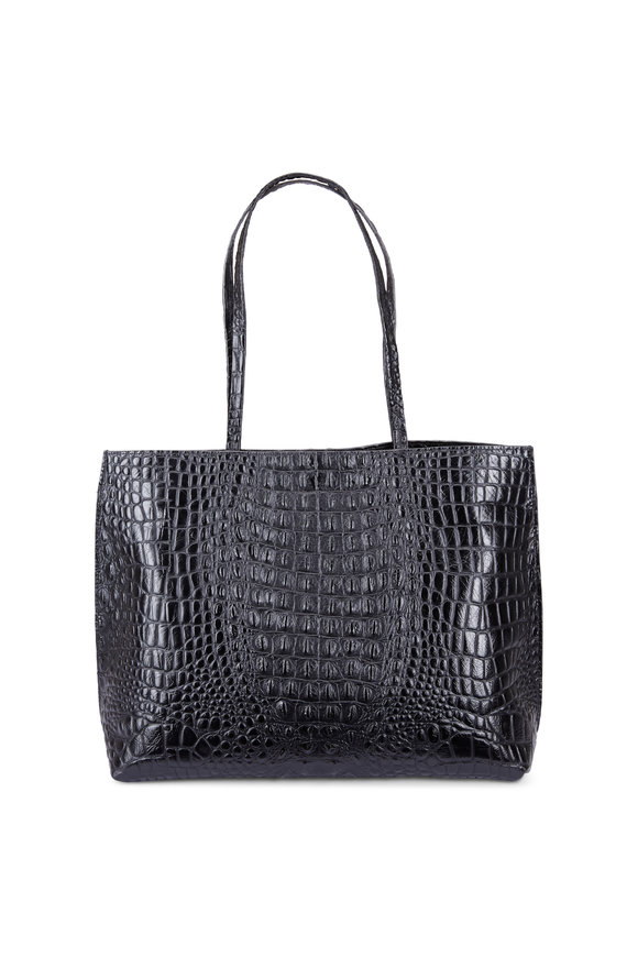 B May Bags Black Croc Embossed Leather Classic Shopper