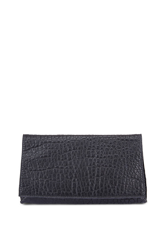 B May Bags Black Washed Nappa Leather Foldover Clutch