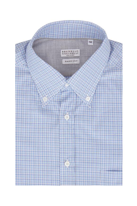 Brunello Cucinelli Light Blue Check Basic Fit Sport Shirt
