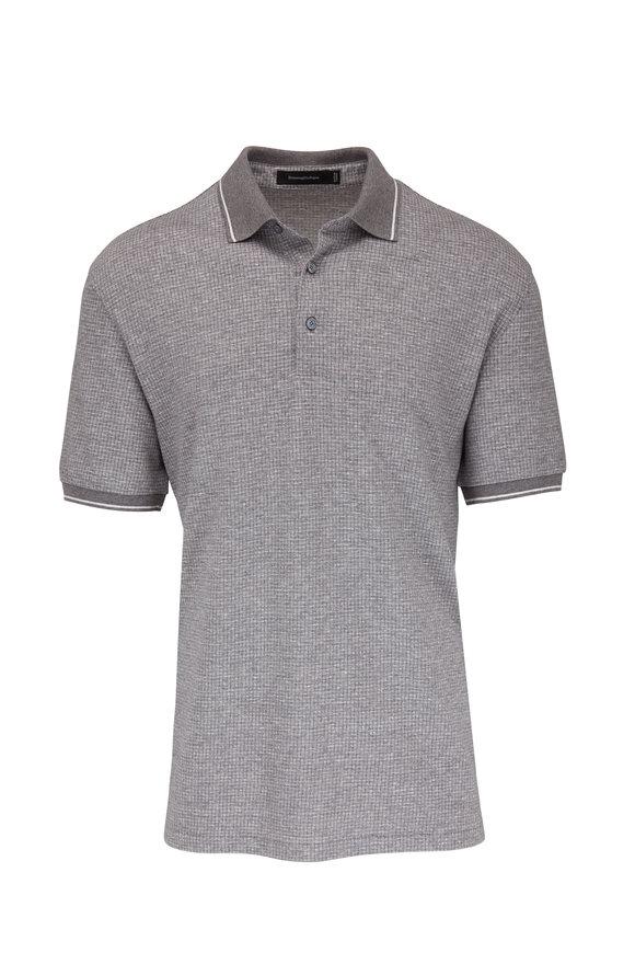 Ermenegildo Zegna Gray Textured Cotton & Linen Polo