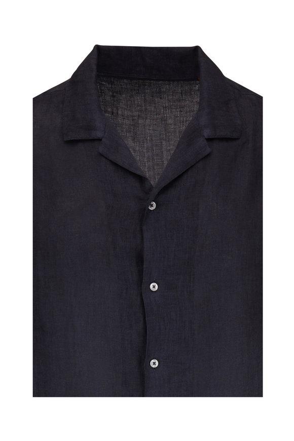 Altea Camp Navy Blue Linen Short Sleeve Sport Shirt