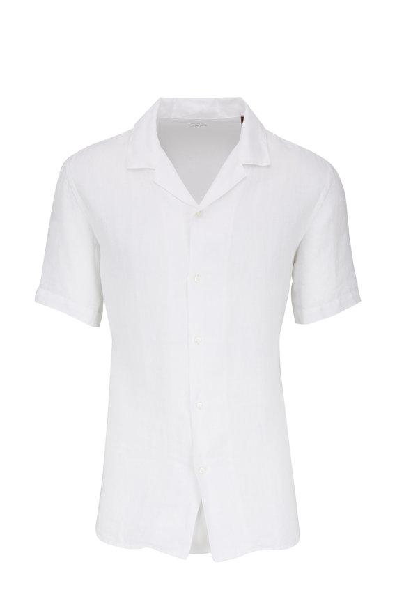 Altea White Linen Short Sleeve Camp Shirt
