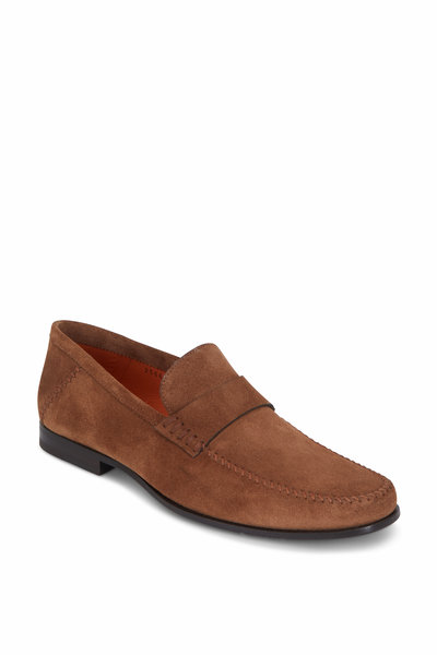 fbf5caa9584 Santoni - Paine Brown Brushed Suede Penny Loafer