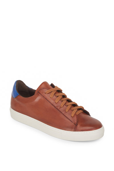 G Brown - Court Tan & Blue Leather Sneaker