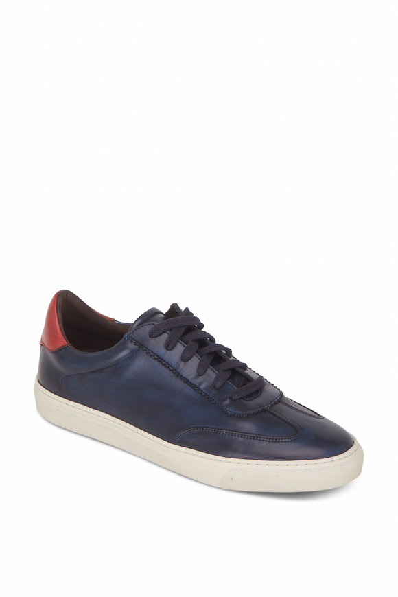 G Brown Flight Navy Blue & Crimson Red Leather Sneaker
